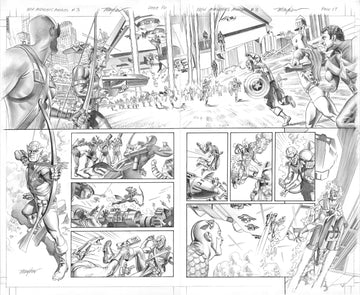 Mike Mayhew Original NEW AVENGERS ANNUAL #3 Pages 16 & 17 B&W Art
