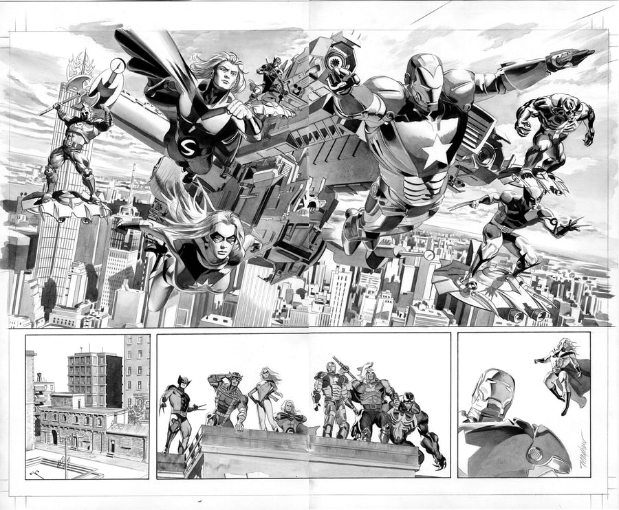 Mike Mayhew Original NEW AVENGERS ANNUAL #3 Pages 22 & 23 B&W Art