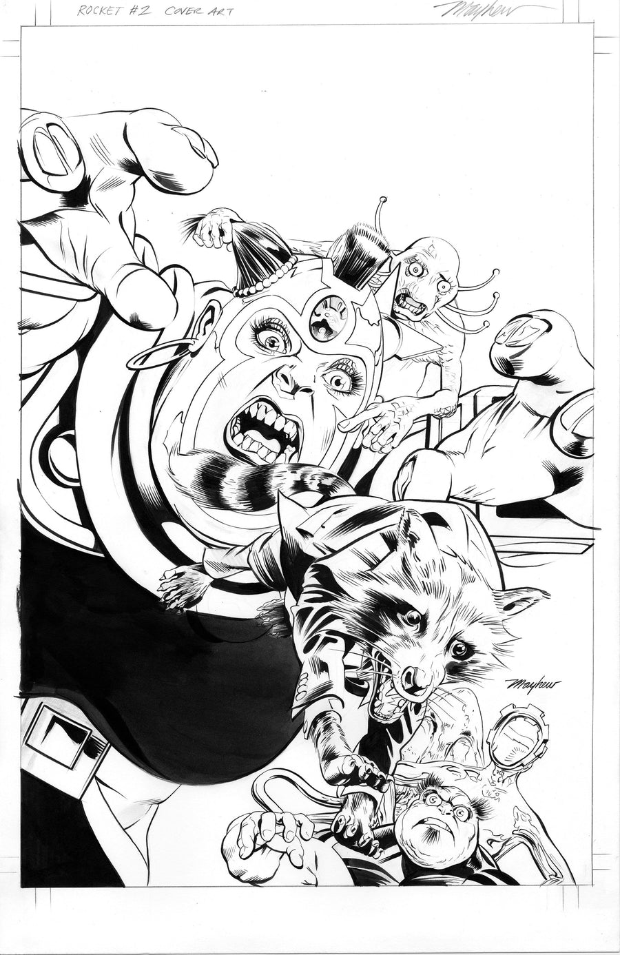 Mike Mayhew Original ROCKET #2 (2017) B&W Cover Art