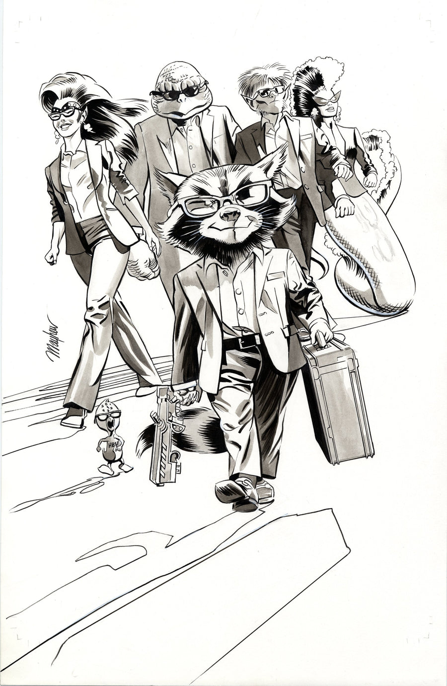 Mike Mayhew Original ROCKET #1 (2017) B&W Cover Art