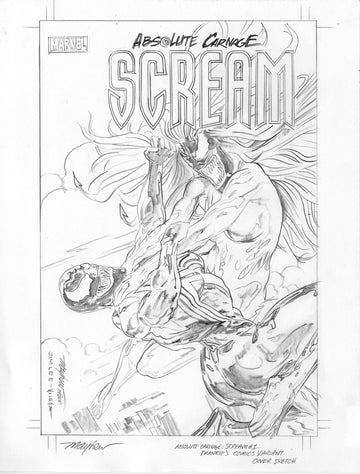 Mike Mayhew Original SCREAM: CURSE OF CARNAGE #1 Variant Cover Sketch