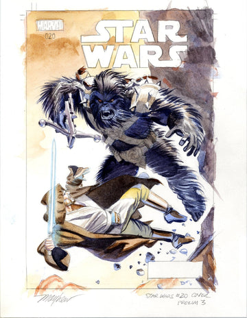 Mike Mayhew Original STAR WARS #20 Cover Painted Prelim