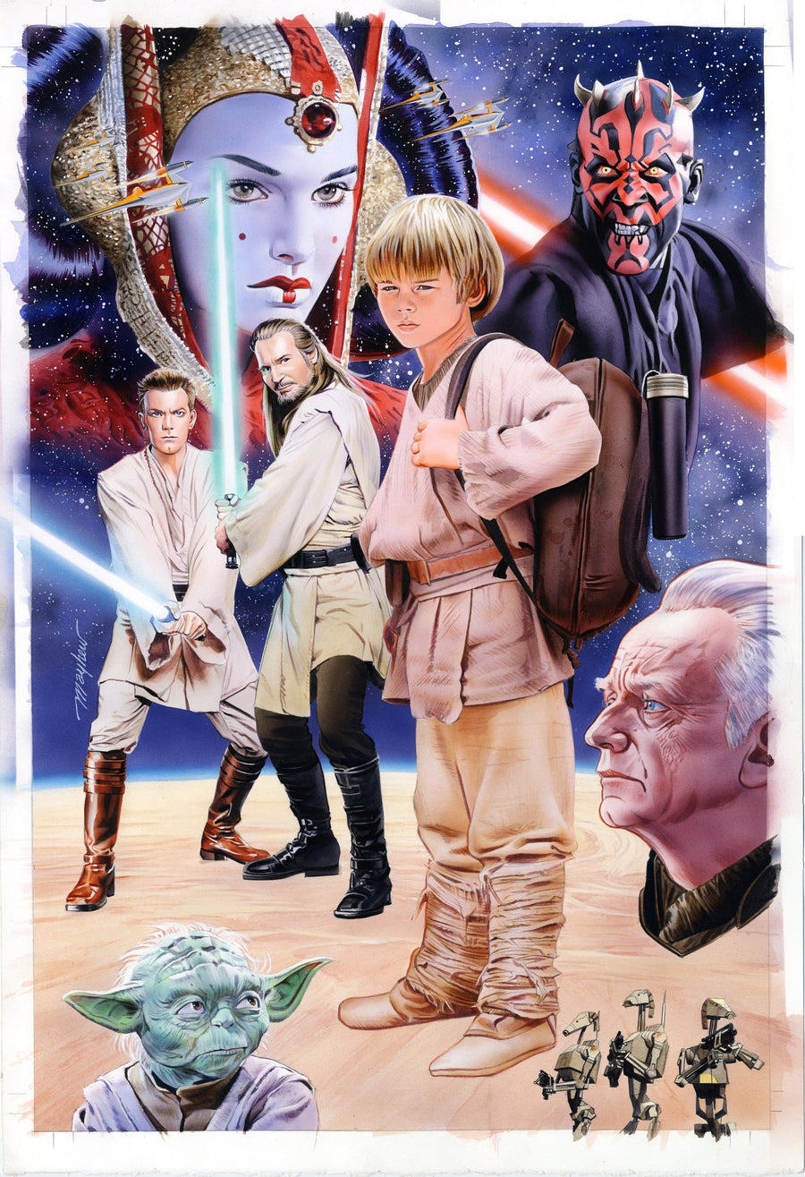 Mike Mayhew Original STAR WARS: THE PHANTOM MENACE Hardcover Cover Painting