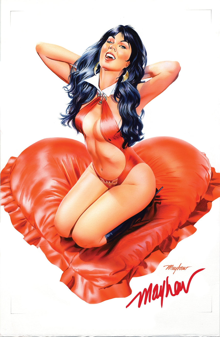 "VAMPIRELLA: VALENTINE'S SPECIAL #1 Mike Mayhew Studio ""Red Romance""  Signed Raw Variant Cover"