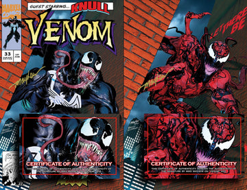 VENOM #33 Mike Mayhew Studio Variant Cover A Trade Dress and Cover B Set Signed with COA