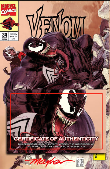 VENOM #34 Mike Mayhew Studio Variant Cover A Trade Dress Signed with COA