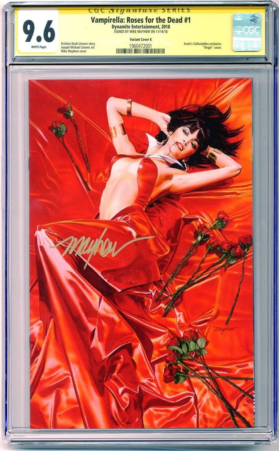 VAMPIRELLA: ROSES FOR THE DEAD #1 Mike Mayhew Variant B CGC Signature Series 9.6
