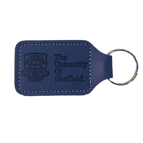 Crested Leather Key Ring Navy