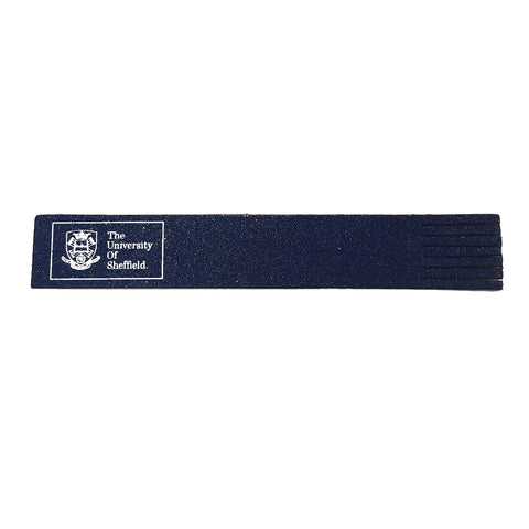 Crested Leather Bookmark Navy