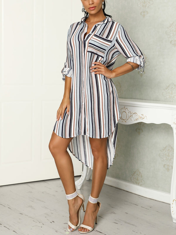 Strip Print Shirt Short Dress