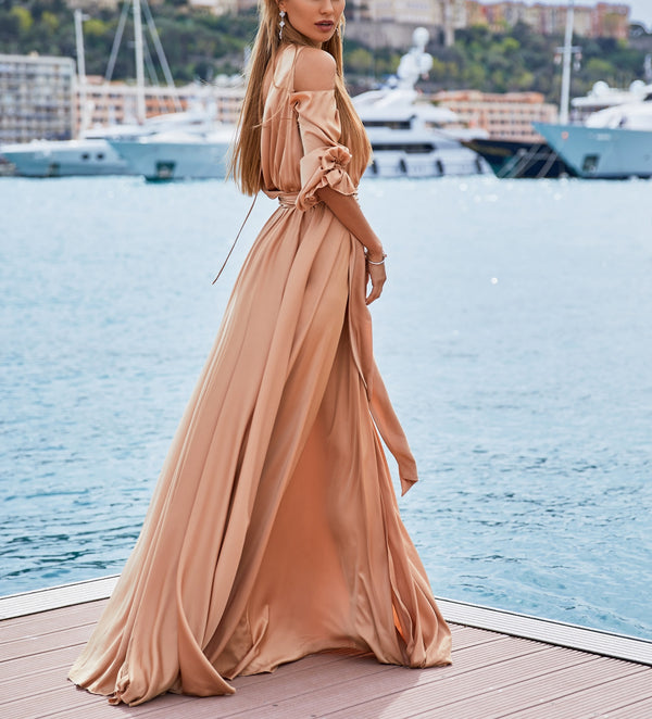 Elegance Cut Out Shoulder Maxi Long Dress