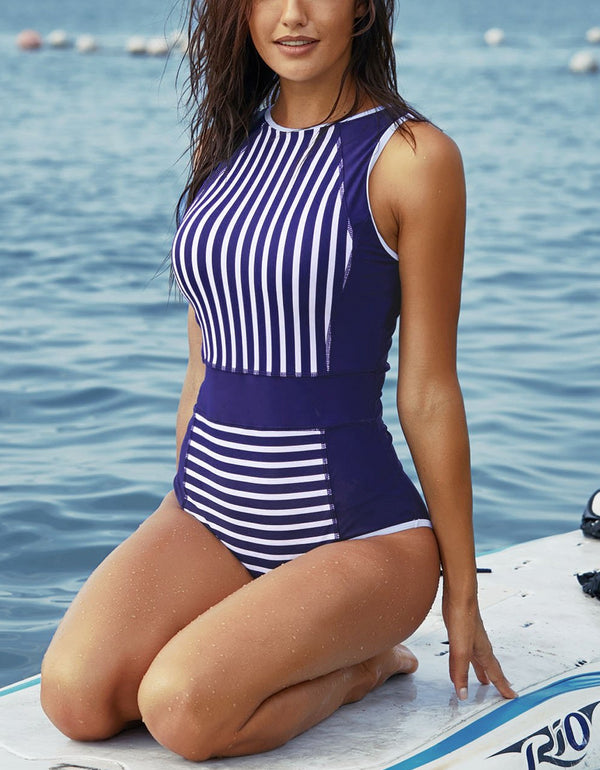White Striped Blue Women Maillot Swimsuit