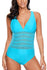 Blue Mesh Cutout Strappy One Piece Swimsuit
