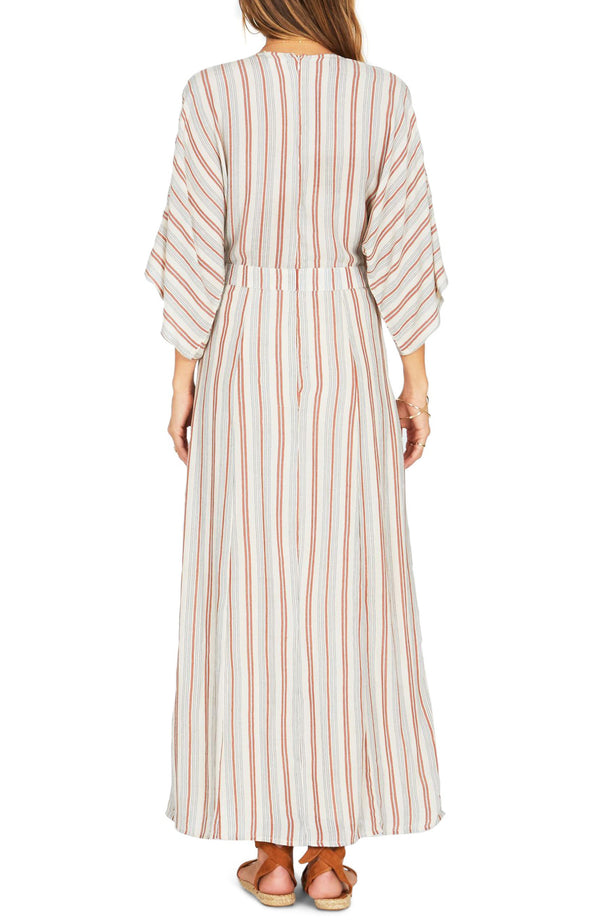 Deep V Wide Sleeve Striped Print Vacation Long Dress