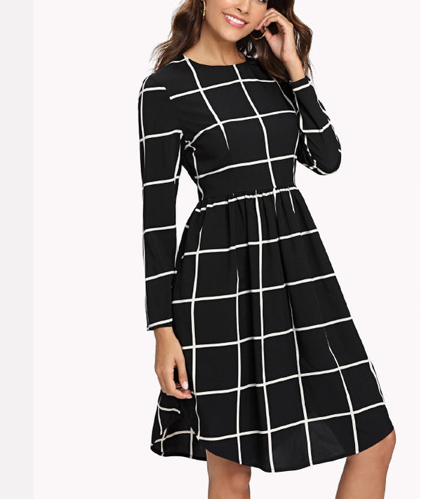 Black Plaid Long Sleeve Short Dress