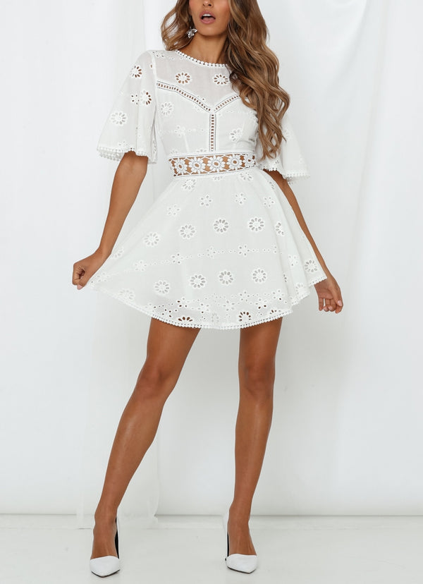 White Embroidered Open Back Short Dress