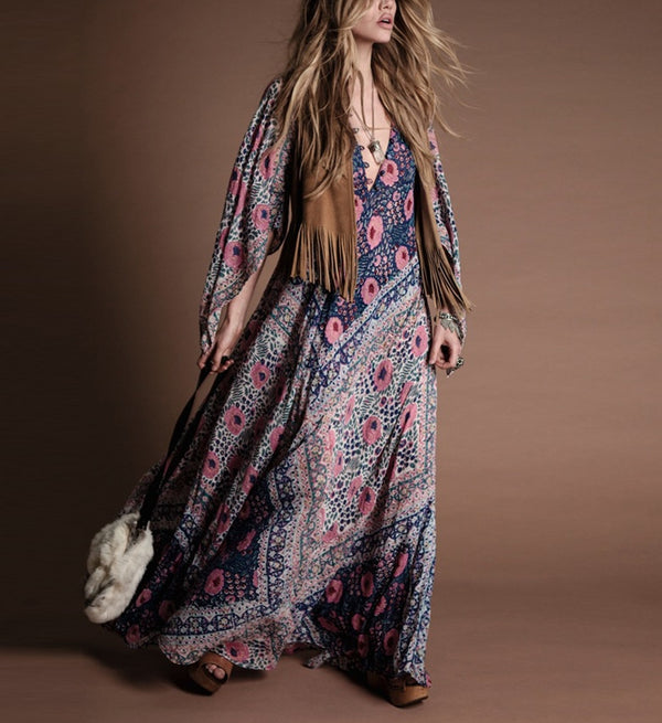 Relaxed Style With Pink Floral Print Button Front Maxi Long Dress