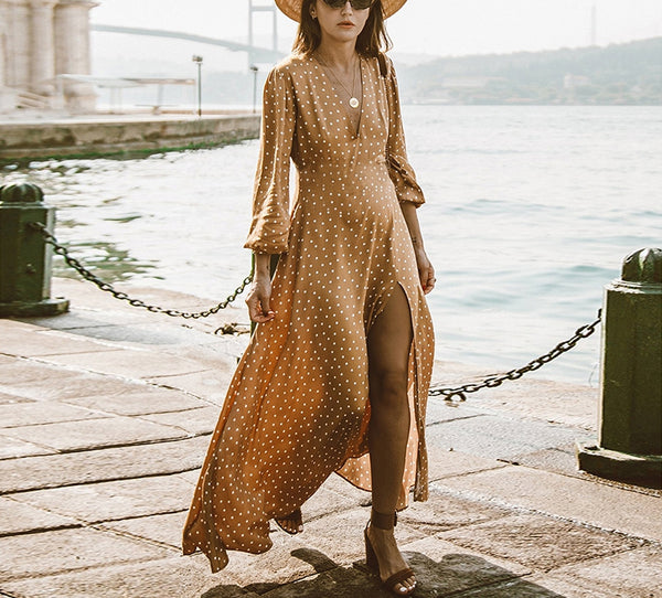 Small Dot Deep V Long Sleeve Maxi Long Dress