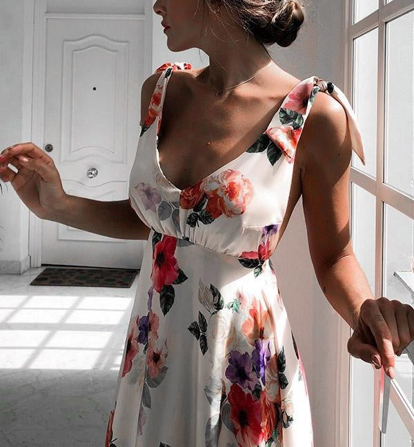 Sandra Floral Print Maxi Long Dress
