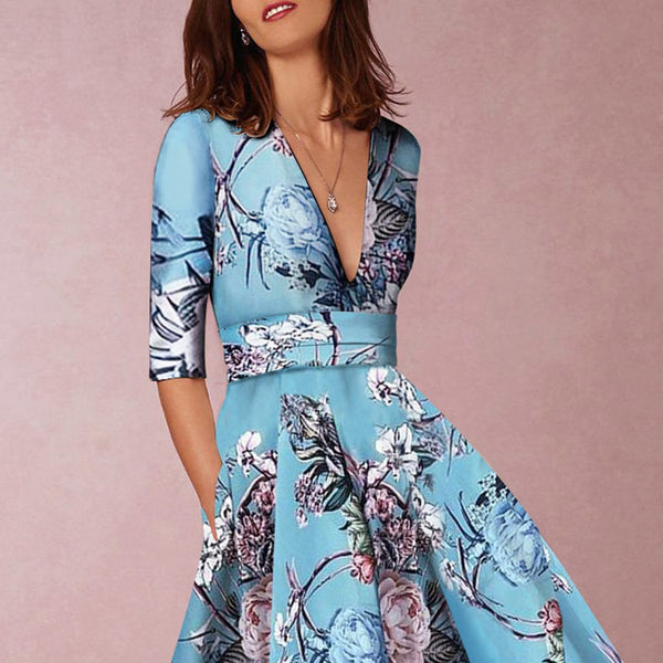 Blue Floral Print Short Dress