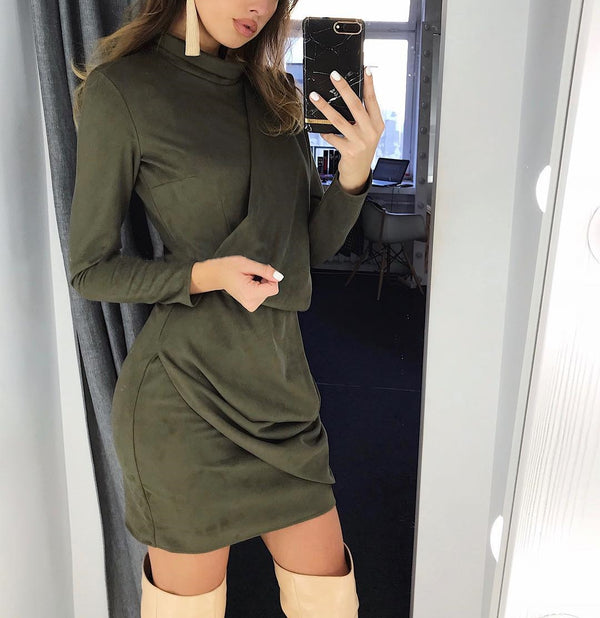 Wrinkle Front High Neck Long Sleeve Short Dress