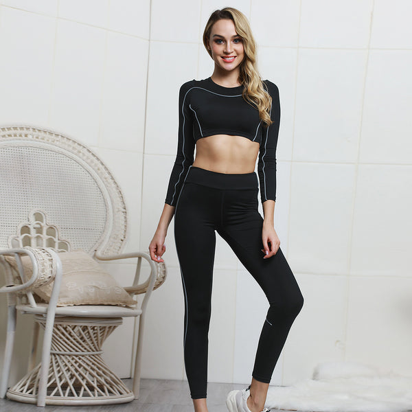 Black Solid Color Reflective Strip Wicking Yoga Set