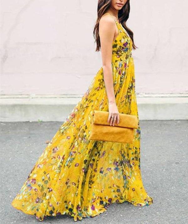 Deep V Floral Print Maxi Long Dress