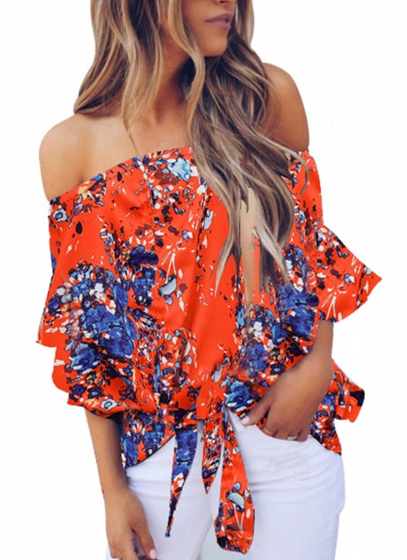 Orange Off Shoulder Floral Tie Front High Low Chiffon Blouse