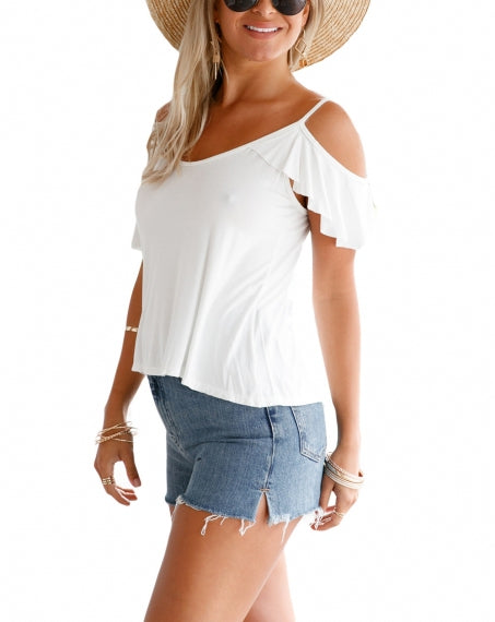 White Crisscross Back Ruffle Cold Shoulder Top