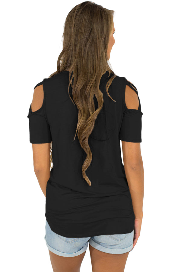 Black Crisscross Cold Shoulder Short Sleeve Shirt