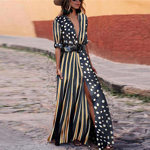 Strip Dot Print Shirt Maxi Long Dress