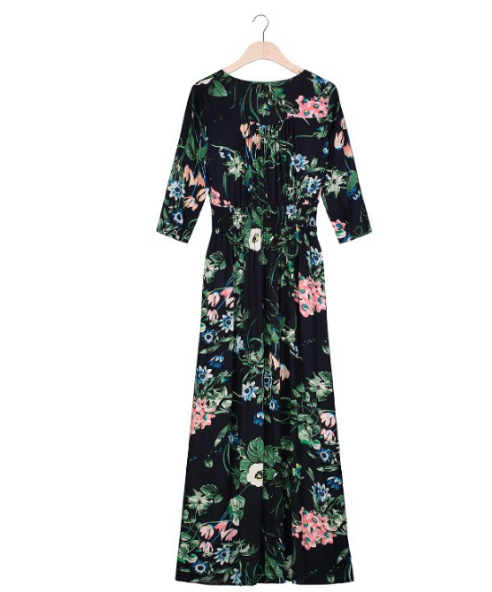 Floral Print Button Up Maxi Long Dress