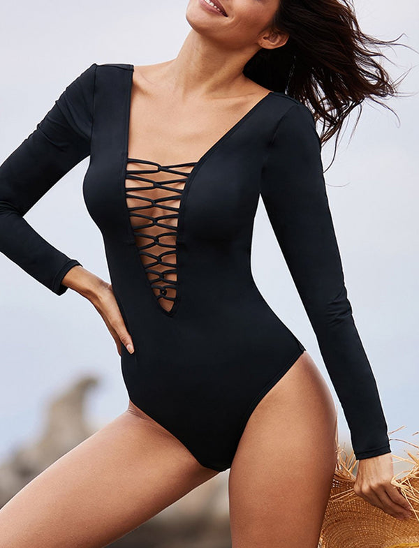 Black Sexy Lace up High Cut One Piece Swimsuit
