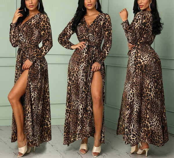 Leopard Print Wrap Style with Long Sleeve Maxi Long Dress