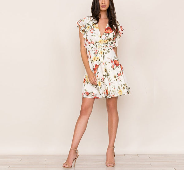 Fala Sleeveless Floral Print Short Dress