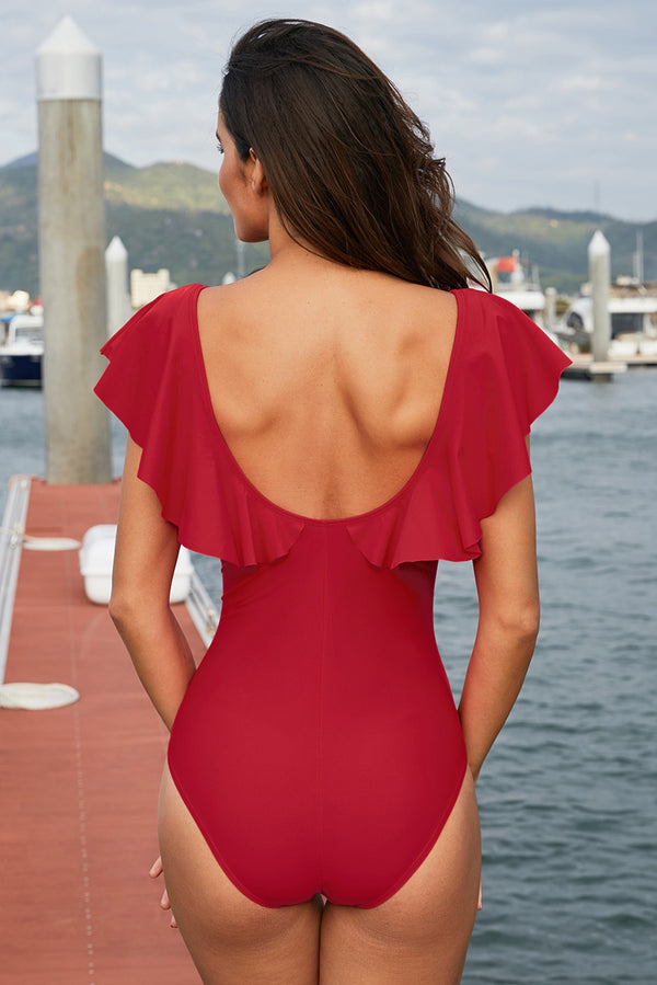 Red Plunging V Neck Ruffled Flutter Sleeve Maillot