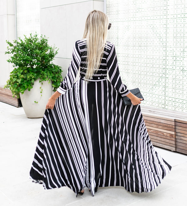 Striped Print Wrap Style Maxi Long Dress