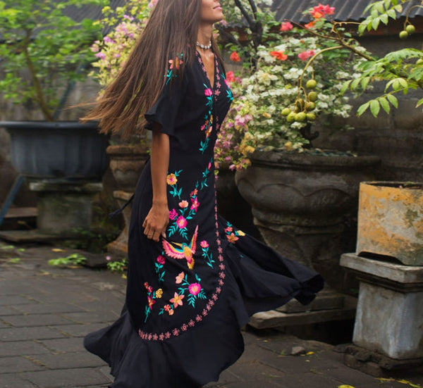 Black Embroidered Wrap Maxi Long Dress