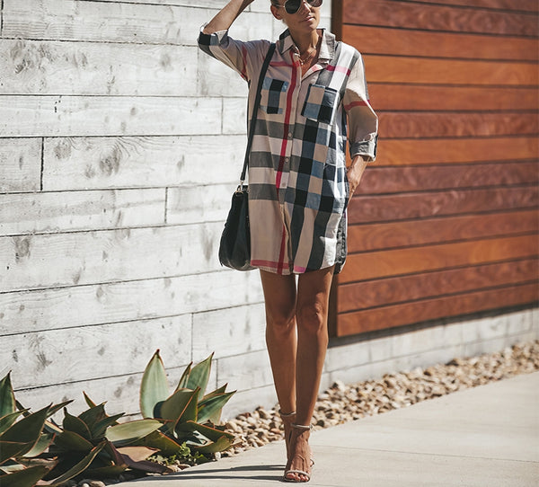 Plaid Shirt Short Dress