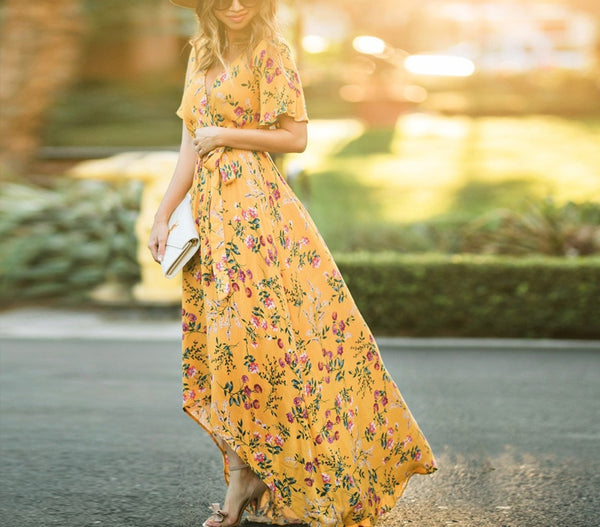 Yellow Floral Print Short Sleeve Wrap Long Dress