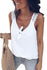 White Front Knot Lace Shoulder Sleeveless Tank Top