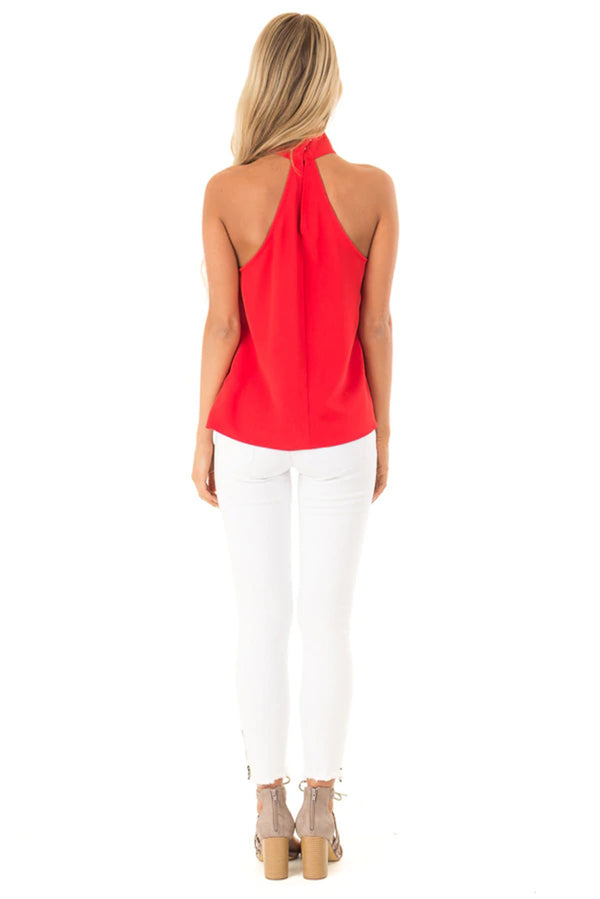 Red Sleeveless Halter Top with Keyhole Back