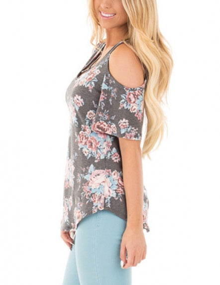 Grey Floral Print Crisscross Neck Cold Shoulder Top