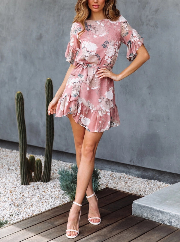 Ruffled Sleeve Floral Print Short Dress