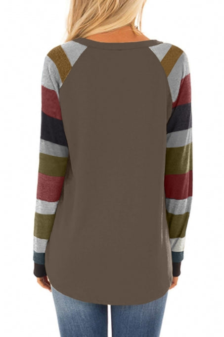 Color Block Long Sleeves Brown Pullover Top