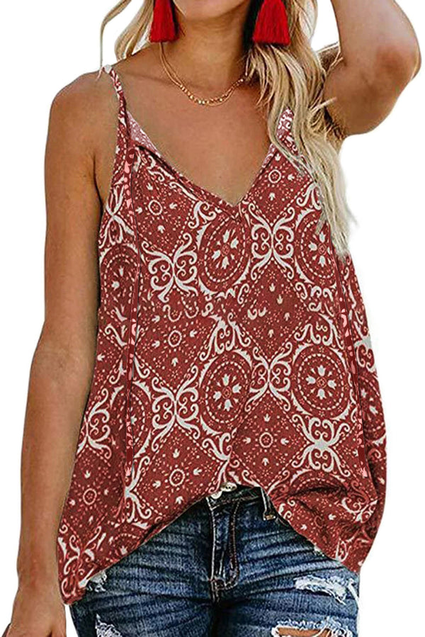 Red Spaghetti Strap Boho Printed Holiday Camisole