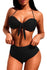 Black Tie-front Halter Bikini High Waist Swimsuit