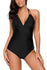 Black Adjustable Halterneck One Piece Swimsuit