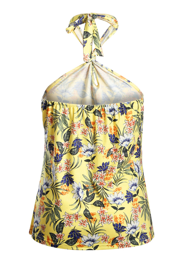 Yellow Boho Print Halter Tank Top
