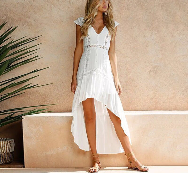 White High Low V Neck Lace Dress